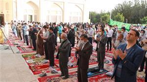 خبر-نماز عید سعید فطر در صحن مسجد امام حسن(ع) دانشگاه یزد برگزار شد